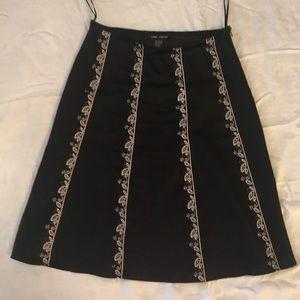 Anne Carson Summer-weight Linen Skirt (Black)